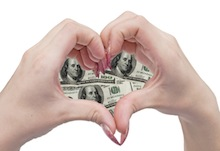 money heart and hands